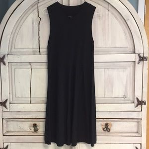 Eileen Fisher Washable Wool Crepe Black Dress